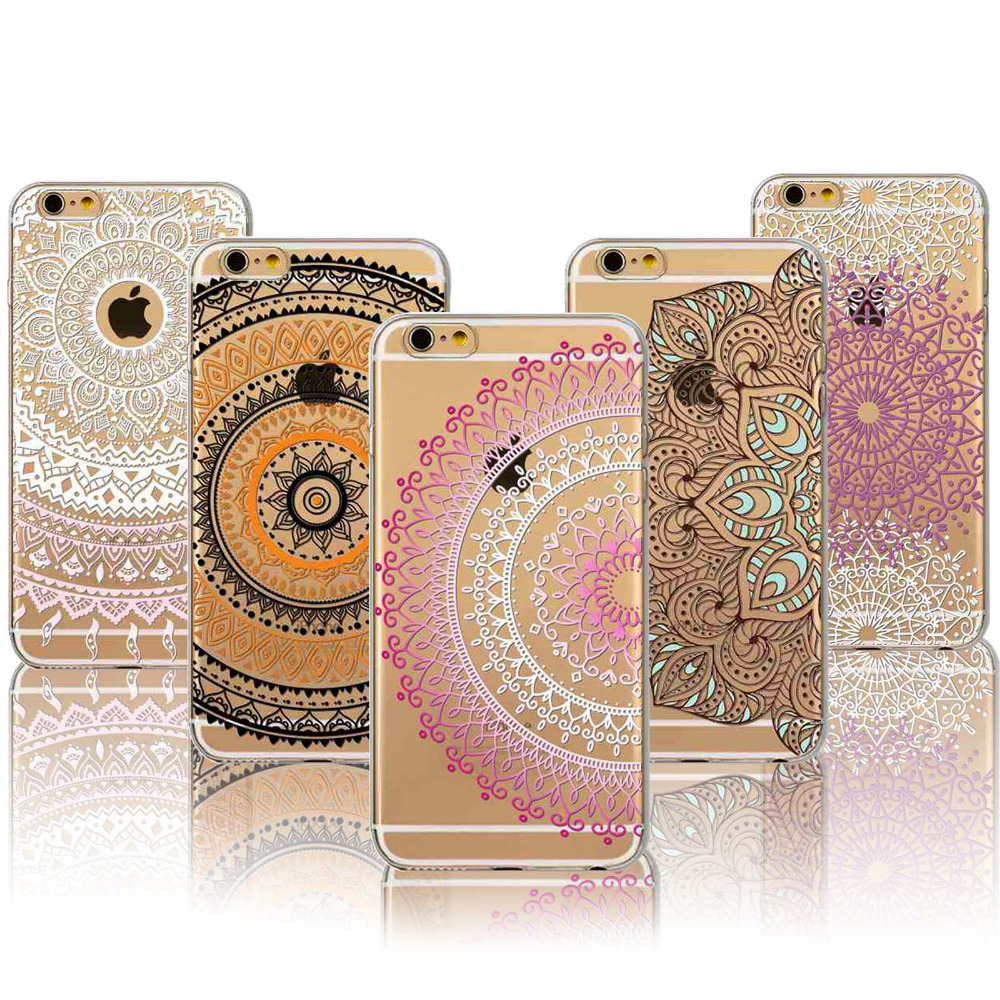 06a17002444 Colorful Floral Paisley Flower Mandala Henna Back Cover for iphone 5 5s SE  6 6s Case fundas capa Soft Clear Mobile Phone Cases
