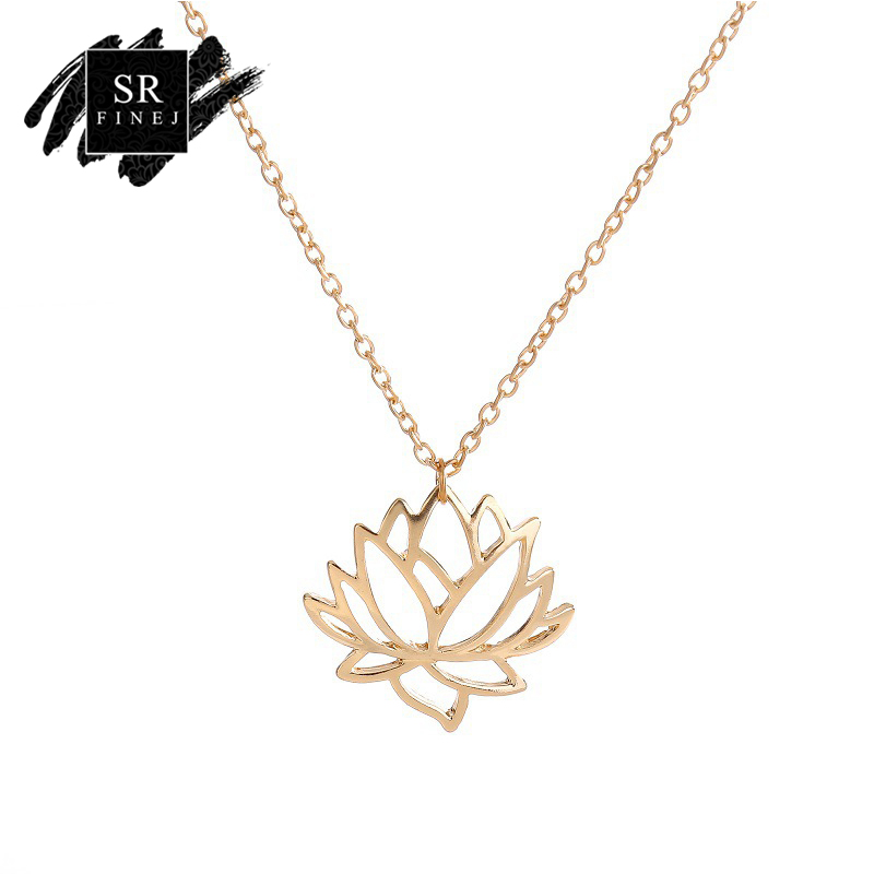 SR:FINEJ 2018 Fashion Lotus Lariat Pendant Necklace for Women Rose Gold Color Link Chain Plant Lotus Flower Jewelry Necklaces
