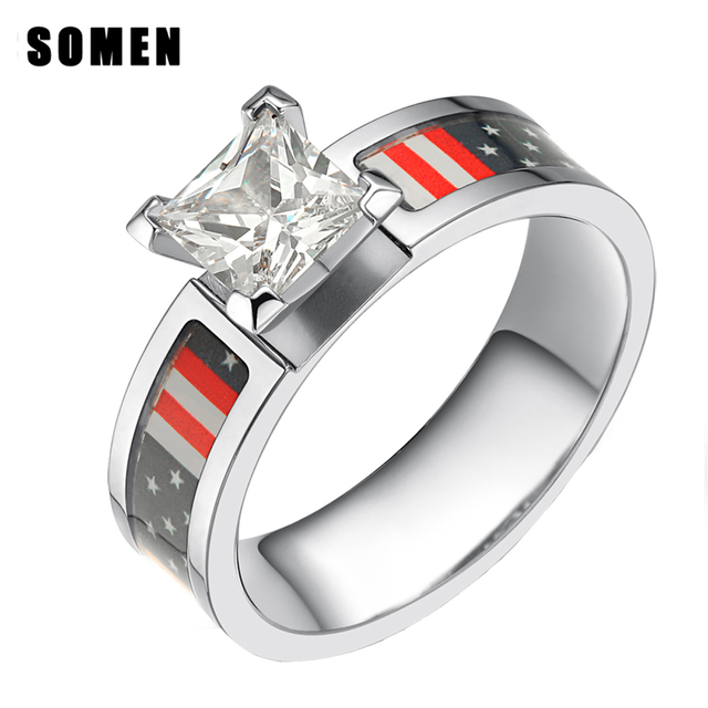 Somen 6mm Ring Women Anium American Flag Cubic Zirconia Engagement Rings Camo Wedding Band Female