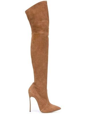 Cuir As Genou Chaussures Bout Femmes Sexy Bottes Noir Robe Talon Sur De Style Mince Flock Métal Leather Leather Pointu Picture Patent Solide Mode D'hiver Le Haute as black En Troupeau WxO81Pn1