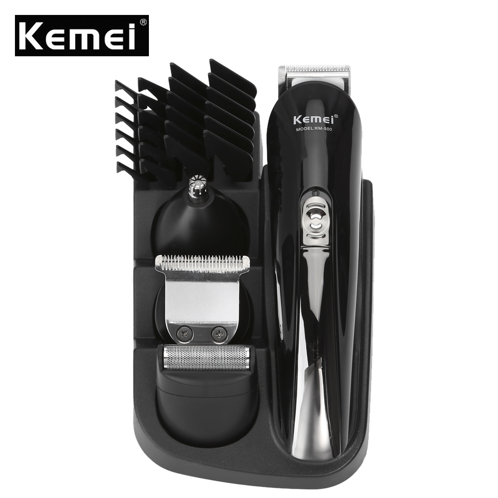 Kemei KM - 500 Hair Trimmer Multifunctional Clipper 8 in 1 Rechargeable Electric Hair Trimmer Clipper Kit for Men kemei km 173 led adjustable temperature ceramic electric tube hair curler