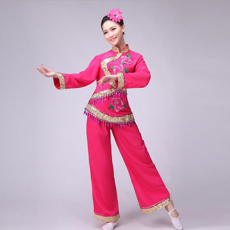 9e95eb84895d New Red Women Ladies Ancient Chinese National Costume Traditional Chinese  Yangko Dance Costumes Classic Stage Cheap Clothes-in Chinese Folk Dance  From .