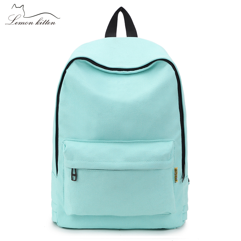 Canvas Pure Color Backpack Fashion Adolescent Girl Backpack Female Best Women Backpack Travel Bag Rucksack Mochila Bagpack
