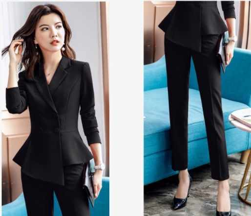 2cdb50fc18e ... Double Breasted Blazer and Trouser OL Style 2 Suit Set Women Slim Fit Pants  Suits Office