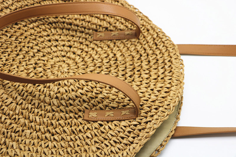 REREKAXI Hand-woven Round Woman's Shoulder Bag Handbag Bohemian Summer Straw Beach Bag Travel Shopping Female Tote Wicker Bags 10