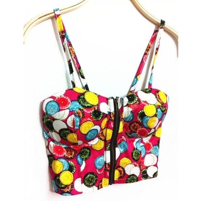 c287638d99afd Indie Folk Style Camis Women Zipper Floral Bralette Bralet Bra Bustier Crop  Top Cami Padded Bikini Top