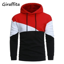 Giraffita 2017 Spring leisure Mens hooded sweatering stitching men's coats Hoodies Sweatshirts