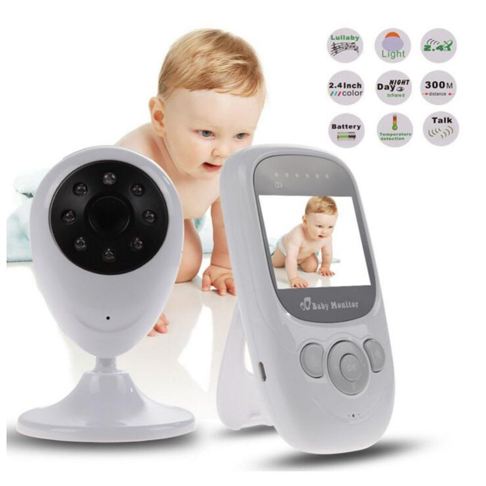 babykam video nanny baby monitor 2.4 inch LCD IR Night Light Vision Intercom 2X Zoom Temperature Monitor baby camera radio nanny