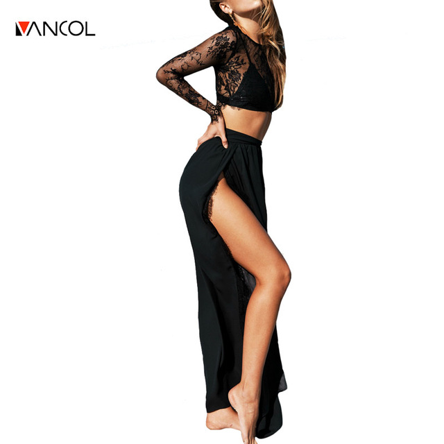 vancol summer suits sexy black lace long sleeve crop top and skirt side slit set beach pencil skirt top women two piece set