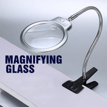 цена на Clip On Desktop Illuminated Magnifier Magnifying Glass Reading Loupe Metal Hose LED Lighted Lamp Top Desk Magnifier With Clamp