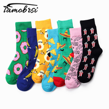 New Dessert Food Series Creative Pattern In The Tube Donuts Mens Socks Tide Cool Funny  Women Cotton Casual Happy