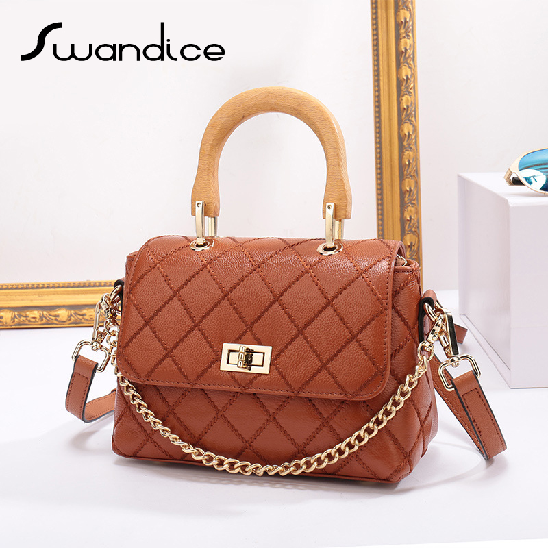 100% Real Genuine Cow Leather Wood Handle Quilted Plaid Flap Chain Handbags Crossbody Messenger Shoulder Bags Women Female 2019
