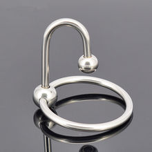 Men Penis Ring Stainless Steel Cock Ring Cockring Glans Jewelry Two Beads Penis Delay Ejaculation Ring with Penis Plug J7-1-40(China)