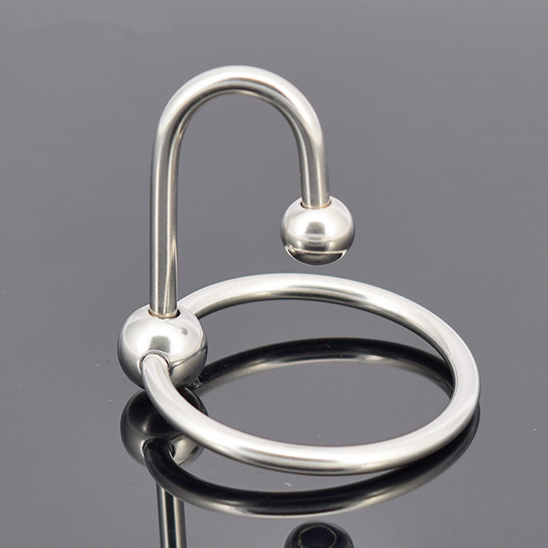 Men Penis Ring Stainless Steel Cock Ring Cockring Glans Jewelry Two Beads Penis Delay Ejaculation Ring With Penis Plug J7-1-40