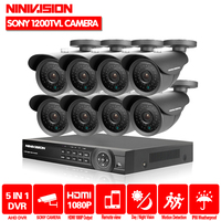 NINIVISION 8CH HDMI 1080P 8 Channel 1080N AHD CCTV DVR SONY 1200TVL Video Surveillance Security System 8 bullet outdoor Camera