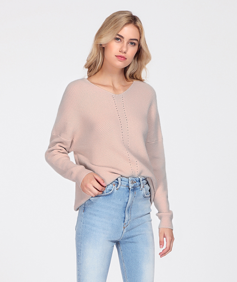 WOTWOY Autumn Winter Knit Pullovers Women Long Sleeve Basic Cashmere Sweater Women Pullover Knitted Casual Blue Female Jumper 12