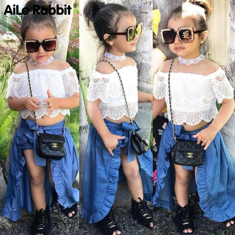 3PCS Baby Girl Clothes Sets Lace Off-Shoulder T-shirt Tops Skirts Shorts Bowknot Denim Summer Party Clothes Set Child 1-6T stylish women s lace embellised bleach wash denim shorts
