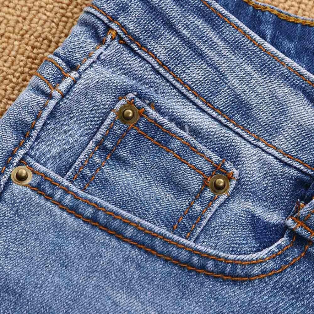 Blue 40 Mujer Lápiz Alta Denim Dark Vaqueros Elástico Agujero Pantalones Cintura De qqnHpgwP