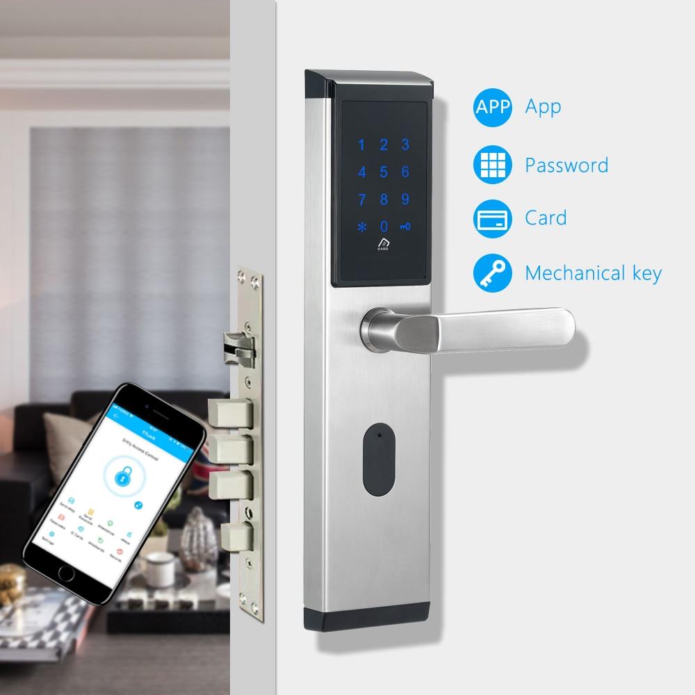 WiFi Numérique Électronique Serrure de Porte À Puce App, Maison Intelligente App Intelligente Bluetooth clavier Mot de Passe Serrure De Porte pour Hôtel Appartement