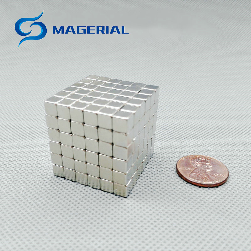 1 Set/216 pcs N42 Magnetic Block 5x5x5mm NdFeB Magnet Cube Magic Toy Neodymium Magnets Rare Earth Magnets Permanent creative mk1003 magnetic mud decompression plasticine toy with cube magnet