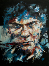 Hand Painted Abstract Man Portrait Oil Painting on Canvas Frameless Knife China Character Oil Painting