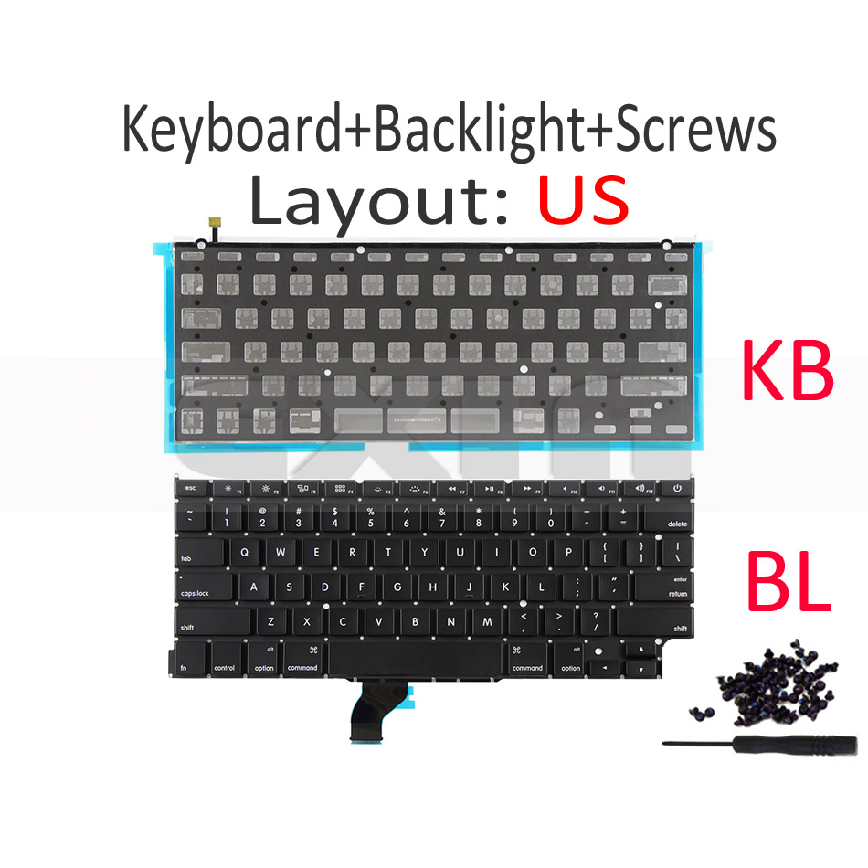 """Image 2 - New A1502 US English Keyboard +Backlight+100Pcs Screws for Macbook Pro Retina 13"""" A1502 2013 2014 2015 EMC2678 EMC2875 EMC2835-in Replacement Keyboards from Computer & Office on"""
