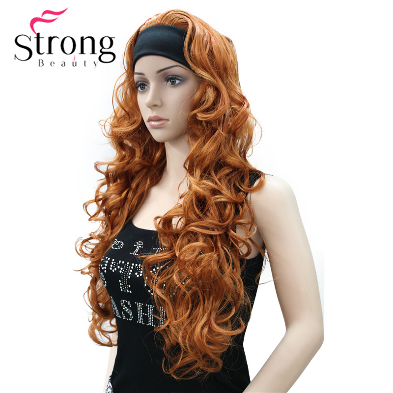Image 4 - Long WavyBrow n Synthetic HeadBand Wig Ladies 3/4 Wigs With headband Women Full Wigs COLOUR CHOICES-in Synthetic None-Lace  Wigs from Hair Extensions & Wigs