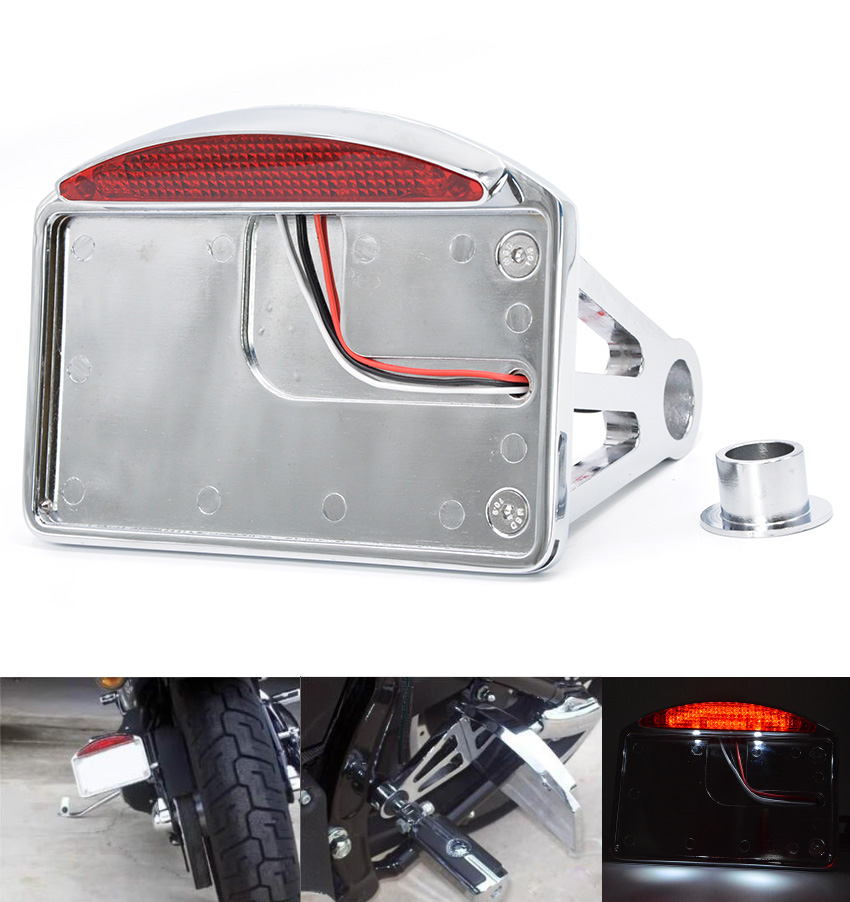 Chrome Motocycle LED Tail Brake Light License Plate Mount Holder For Harley New