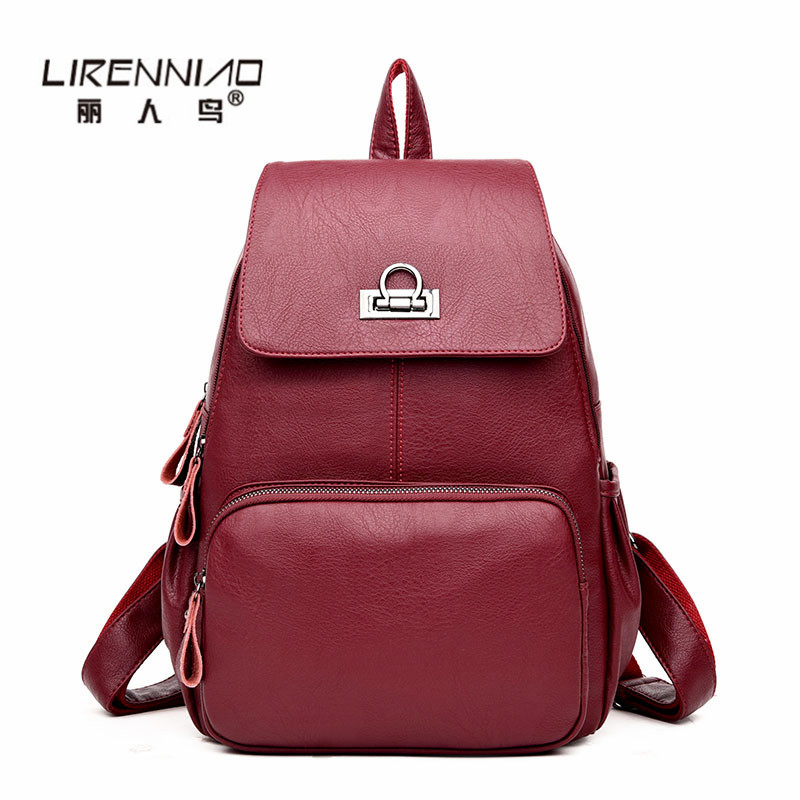 LIRENNIAO Travel Woman Backpack sac a dos femme lady Leather Backpack Women SchoolBag For Teenager girls