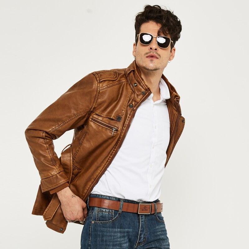 HEE GRAND cuir synthétique polyuréthane pour hommes veste moyen-Long Style nouveauté mode Faux cuir décontracté moto Stand mode manteau MWP218 - 5