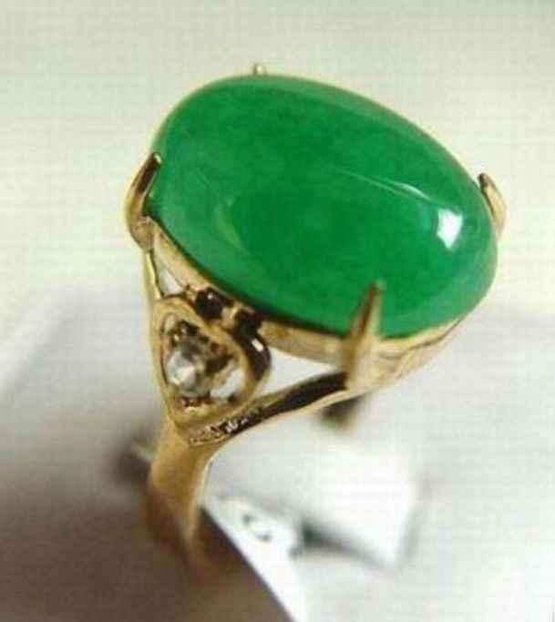 Fine สีเขียวสีเขียว jades ลูกปัดใหม่แหวน (#6,7, 8,9, 10) จัดส่งฟรี