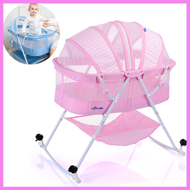 New Multifunction Convertible Baby Cribs Bassinet Bed Folding Portable Newborn Baby Cradle Crib with Netting Nursery Furniture portable folding baby crib netting bedding baby bassinet nursery furniture newborn bed cot convertible crib white mosquito net