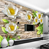 Beibehang Large Custom Wallpaper Mural Relief Flower Relief White Lotus Flower Flow Background Wall Photo Wallpaper