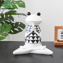 Strongwell Home Decoration Yoga Frogs Figurine Modern Nordic INS Resin Sculpture Dolls Model Odd Gifts Crafts Animal