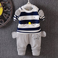 Baby Boys hot sale 2017 spring new casual cartoon striped patchwork Sweatshirt + Cotton Pants clothing sets 6-24 months !