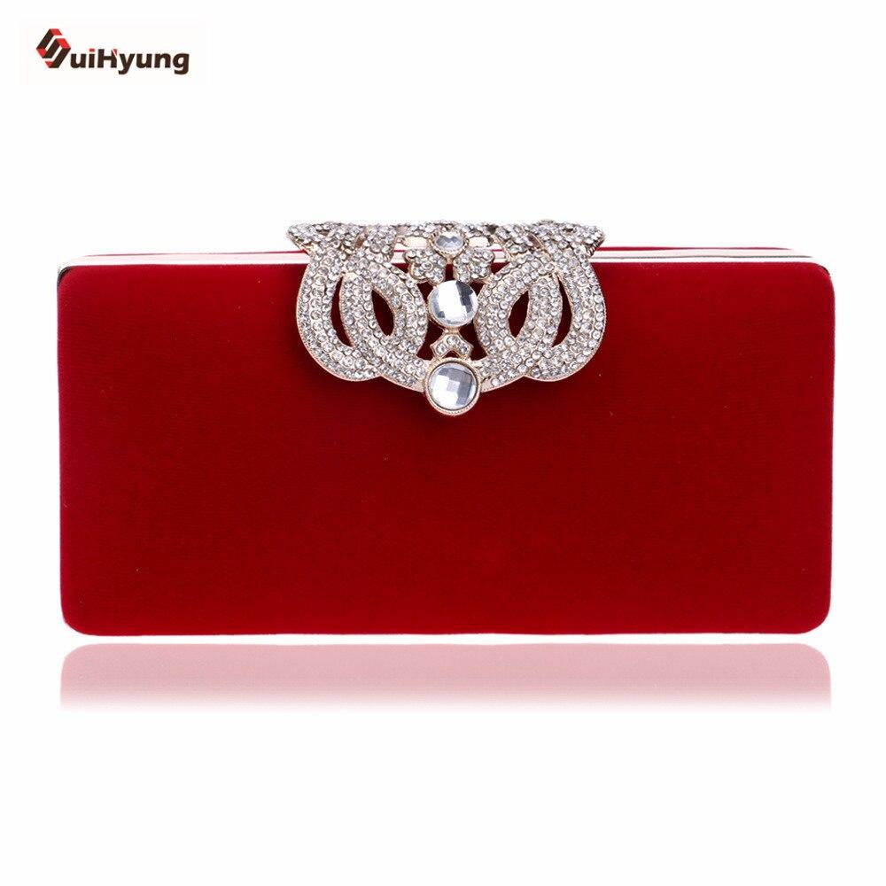 New Women's Clutch Fashion Crown Diamond Evening Bag Velvet Wedding Party Bridal Handbag Purse Chain Shoulder Messenger Bag