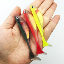 YTQHXY 5pcs/lot Fish Type Soft Fishing Lure 80mm 5g 3D Eyes Wobblers Soft jig carp Fishing Silicone Bait Free shipping YE-167