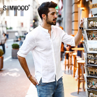 SIMWOOD 2017 Summer New Casual Shirts Men Breathable 100 Pure Linen Fashiom Three Quarter Slim Fit