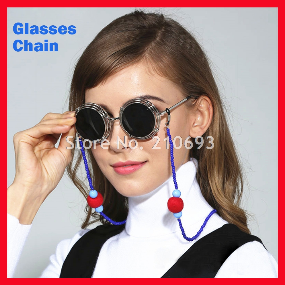 Free Shipping 1pc Fashion beaded Glasses Eyeglasses Cord Rope Sunglasses Chain Anti Slip Beaded Holder