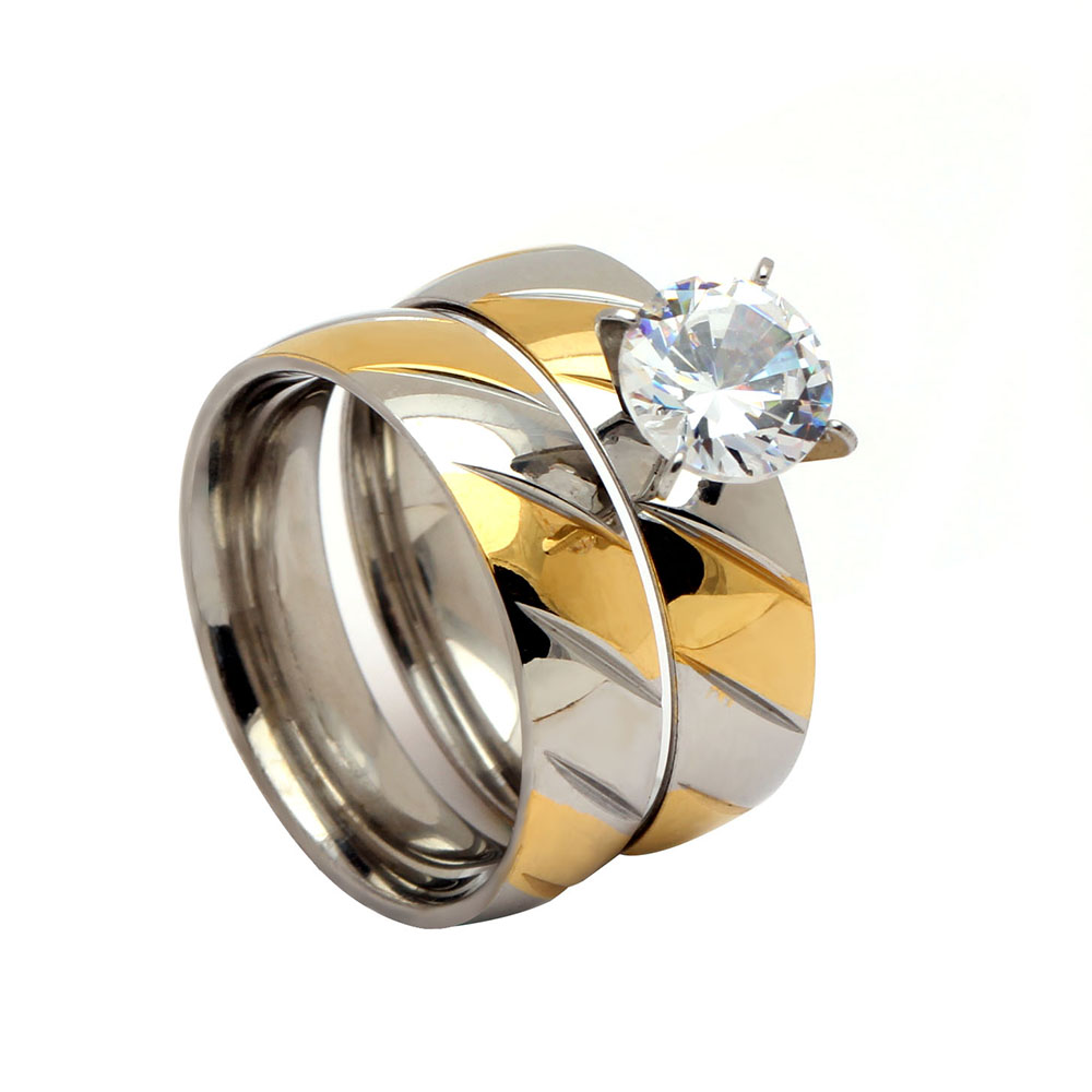 Hot sale new stainless steel wedding ring sets gold color engagement women rings for party in stock Drop shipping
