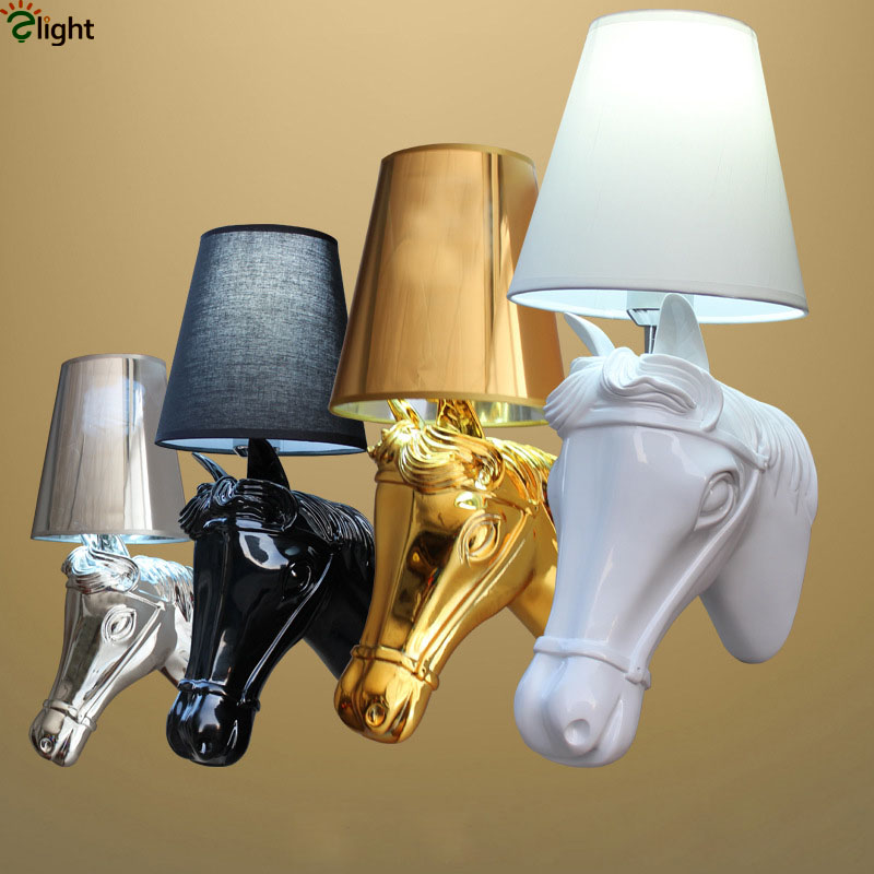 2016 Art Deco Europe Painted Resin Horse Head Led Wall Lamp High Quality Fabric Shades Hotel Bar Wall Lamp