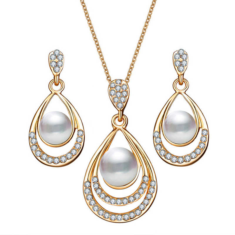 Neue Ankunft Braut Frauen Perle Halskette Ohrringe Schmuck Sets Silber Gold Kette Hohe Qualität Kristall Schmuck Party Jahrestag
