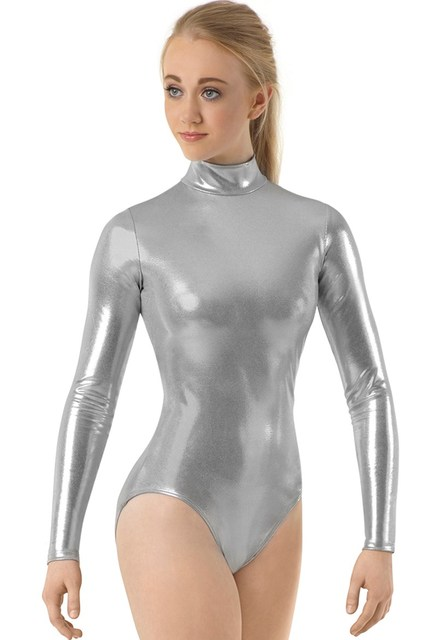 9da4c555b0 Girls Long Sleeve Metallic Mock Neck Leotard For Women Gymnastics Ballet  Dance Leotards Shiny Zip Stage Performance Zip Leotard