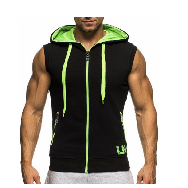 Plus Size Tank Top Hoodie Sleeveless Patchwork Bodybuilding Clothing Men Tops Workout Jacket Cool Gyms Vest Tank Top T52