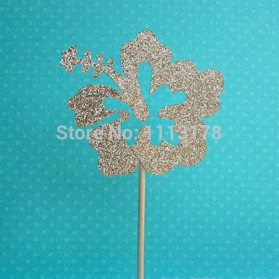 Glitter Tropical Hibiscus Flower Cupcake Topper Bridal Shower