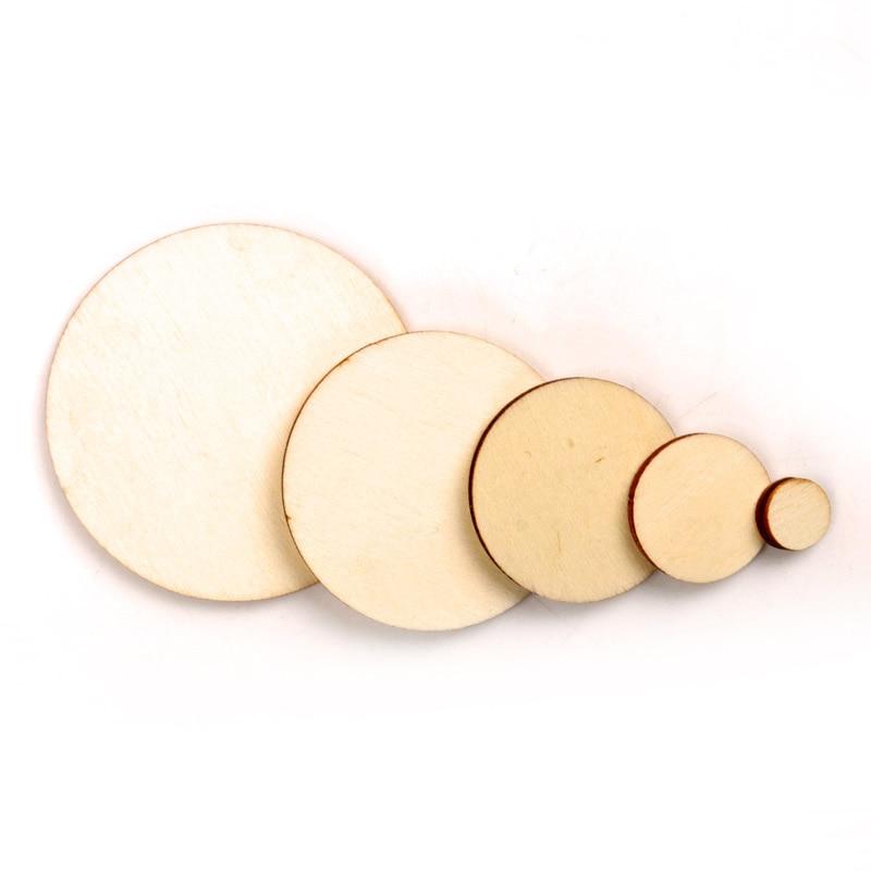 Carré rond en bois, mélange de Scrapbooking, bricolage, pour embellissements faits à la main, décoration circulaire en bois 10/20/30/40/50mm 50pcs