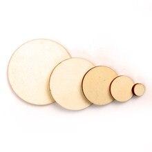 Mistura de madeira redonda scrapbooking carft, diy para enfeites caseiros artesanais decoração círculo de madeira 10/20/30/40/50mm 50 peças