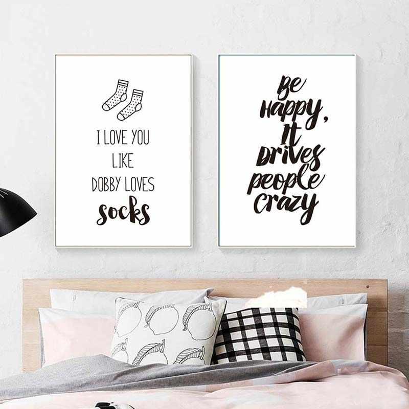Pósteres estampados te amo más vida loca cuadro de la pared lienzo nórdico amor cita pinturas negro blanco pared para sala de estar