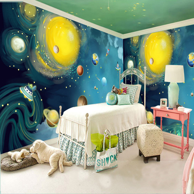 Us 9 25 41 Off Custom Photo Wallpaper Cartoon Hand Painted Space Universe Large Murals Children Room Bedroom Decoration Wall Painting Wallpaper In