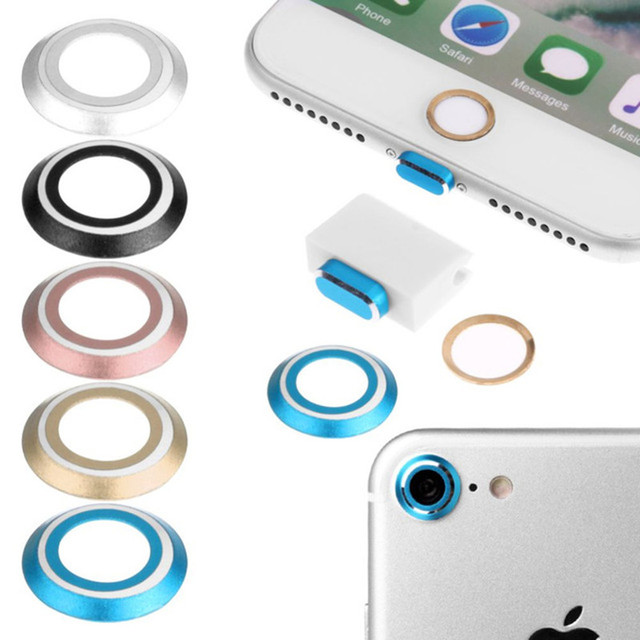 Metal Camera Lens Protective Protector + Home Button Sticker + 8 Pin Port & Earphone Headphone Dust Plug For iPhone 7 8 Plus